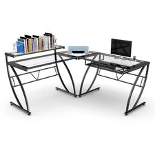 Feliz Glass L-Shaped Computer Desk