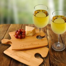Personalized Gift 4 Piece Bamboo Puzzle Cutting Board and Wine Glasses Set