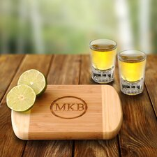 Personalized Gift 4 Piece Bamboo Bar Board and Distinction Shots Set