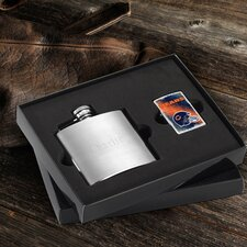 Personalized Gift Lighter and Brushed Flask Gift Set