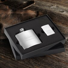Personalized Gift Brushed Flask and Zippo Lighter Gift Set