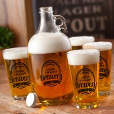 Personalized Gift 5 Piece Brewery Growler and Glass Set