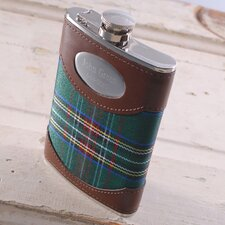 Personalized Gift 8 oz. Plaid Flask