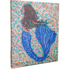 Brunette Mermaid Mounted by Giclee Gerri Hyman Painting Print on Canvas