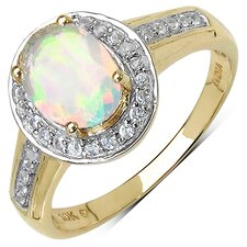 10K Yellow Gold Oval Cut Ethiopian Opal Halo Ring