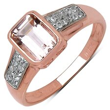 10K Rose Gold Emerald Cut Morganite Ring