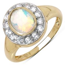 10K Yellow Gold Oval Cut Ehtiopian Opal Halo Ring