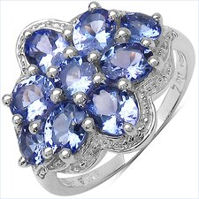925 Sterling Silver Round Cut Tanzanite Ring