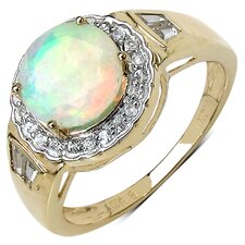 10K Yellow Gold Round Cut Ethiopian Opal Halo Ring