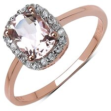 10K Rose Gold Cushion Cut Morganite Halo Ring