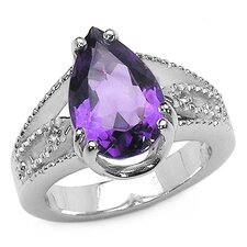 <strong>JewelzDirect</strong> 925 Sterling Silver Pear Cut Amethyst Ring