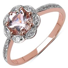 10K Rose Gold Round Cut Morganite Halo Ring