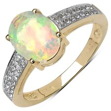10K Yellow Gold Oval Cut Ethiopian Opal Ring