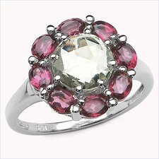 925 Sterling Silver Gemstone Halo Ring