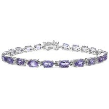 <strong>JewelzDirect</strong> Oval Cut Gemstone Link Bracelet