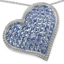925 Sterling Silver Round Cut Tanzanite Heart Pendant
