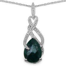 925 Sterling Silver Pear Cut Gemstone Pendant