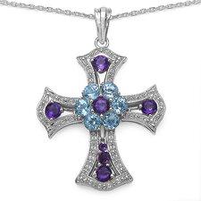 925 Sterling Silver Gemstone Cross Pendant
