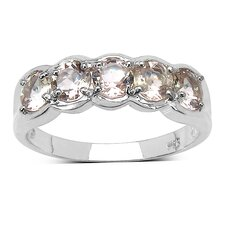 925 Sterling Silver Round Cut Morganite Ring