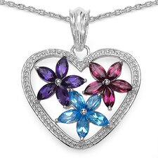 925 Sterling Silver Marquise Cut Gemstone Heart and Flowers Pendant
