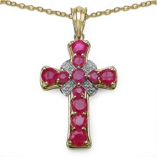 925 Sterling Silver Ruby Cross Pendant