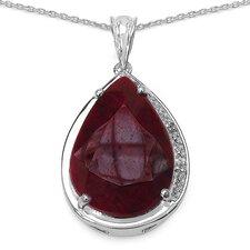 925 Sterling Silver Pear Cut Ruby Pendant