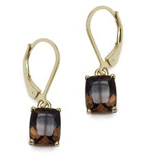 Emerald Cut Gemstone Drop Earrings