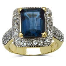14K Gold Plated Emerald Cut London Blue Topaz Halo Ring