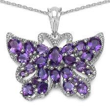 Sterling Silver Gemstone Butterfly Pendant