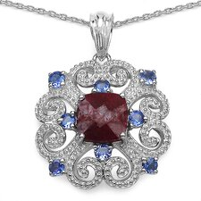 925 Sterling Silver Round Cut Ruby Pendant