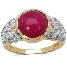 <strong>JewelzDirect</strong> 14K Gold Plated Round Cut Ruby Ring