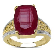 Gold Plated Emerald Cut Ruby Ring