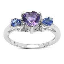 925 Sterling Silver Heart Cut Amethyst Ring