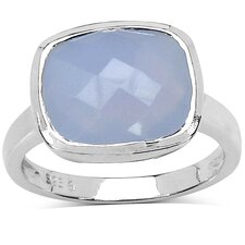 <strong>JewelzDirect</strong> 925 Sterling Silver Cushion Cut Chalcedony Ring