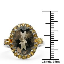 925 Sterling Silver Oval Cut Smokey Topaz Halo Ring