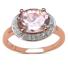 925 Sterling Silver Oval Cut Morganite Halo Ring