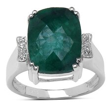 925 Sterling Silver Emerald Cut Emerald Ring