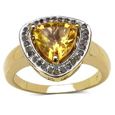 925 Sterling Silver Trillion Cut Citrine Halo Ring