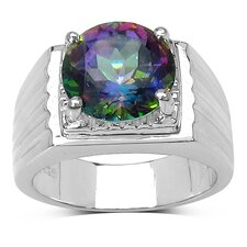 925 Sterling Silver Round Cut Mystic Topaz Ring