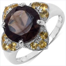 925 Sterling Silver Round Cut Smoky Topaz Ring