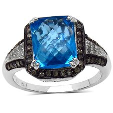 925 Sterling Silver Emerald Cut Swiss Blue Topaz Halo Ring