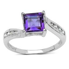 <strong>JewelzDirect</strong> 925 Sterling Silver Asscher Cut Amethyst Ring