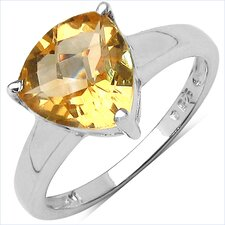 925 Sterling Silver Trillion Citrine Ring