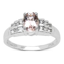 925 Sterling Silver Oval Cut Morganite Ring