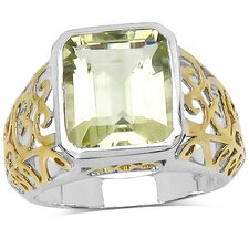 925 Sterling Silver Emerald Cut Lemon Topaz Ring