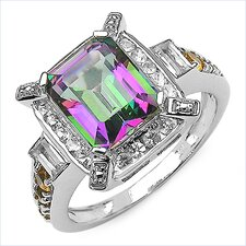 925 Sterling Silver Emerald Cut Mystic Topaz Halo Ring