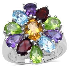 925 Sterling Silver Oval Cut Gemstone Ring
