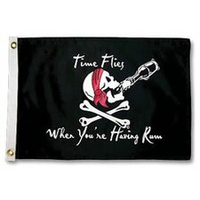 Pirate Heads 'Time Flies When Your Having Rum' Traditional Flag