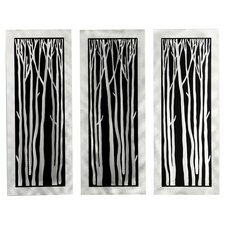 Gilmore 3 Piece Silver Birch Graphic Art Plaque Set (Set of 3)