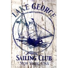 Lake George Sailing Club Reclaimed Wood - White Barn Siding Art